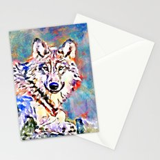 Wolf Watercolor Painting Stationery Cards