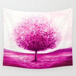 Pink tree landscape Wall Tapestry