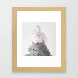 grey hair Framed Art Print