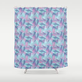 Abstract Light Purple Aqua, Teal Pink and Dark Blue Geometric Triangle Mosaic Tile Pattern Shower Curtain