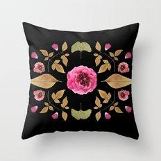 FLOWER COLLAGE N2 BLACK BACKGROUND Throw Pillow