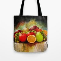 fruits Tote Bags featuring fruits by ErsanYagiz