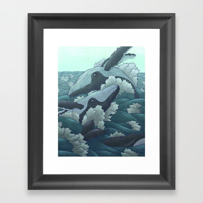 Happy Whales Framed Art Print