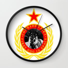 Comrade Laika First Dog In Space Wall Clock