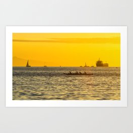 Sunset boat race of the coast of Vancouver Art Print
