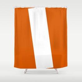Sans Serif I. White on Red Orange. Shower Curtain