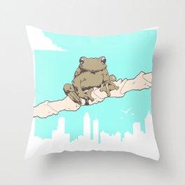 City Frog Throw Pillow