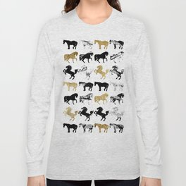 Gold and Black and White Marble Modern Horses Long Sleeve T-shirt