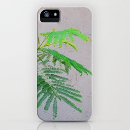 Silk Tree Leaves #2 with Poem iPhone Case