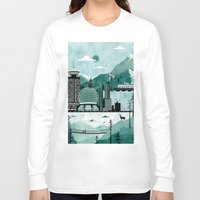 travel poster Long Sleeve T-shirts featuring Vancouver Travel Poster Illustration by ClaireIllustrations