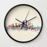 kentucky Wall Clocks featuring louisville kentucky skyline by bri.buckley