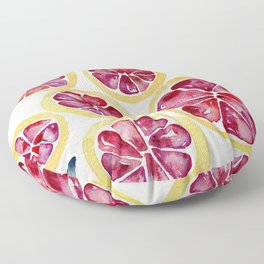 Sliced Grapefruits Watercolor Floor Pillow