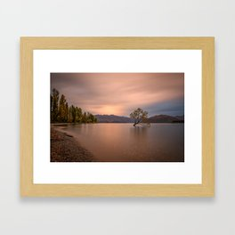 WANAKA TREE AUTUMN SUNSET - NEW ZEALAND - LANDSCAPE NATURE PHOTOGRAPHY Framed Art Print