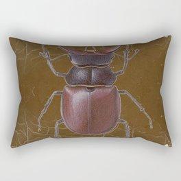 ANTIQUE STAG-HORNED BEETLE BROWN ART Rectangular Pillow