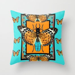 WESTERN  BUTTERFLIES ORANGE BEETLE TURQUOISE ART Throw Pillow