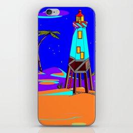 A Lighthouse on a Sandy Beach by Moonlight iPhone Skin
