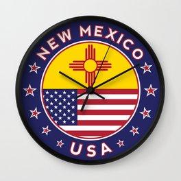 New Mexico, USA States, New Mexico t-shirt, New Mexico sticker, circle Wall Clock