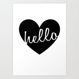 Hello Heart Wall Art #4 Black Heart Art Print