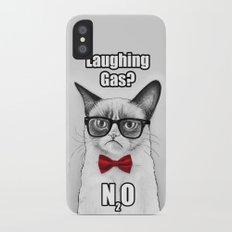 Grumpy Chemistry Cat Geek Science Meme Whimsical Animals in Glasses iPhone X Slim Case