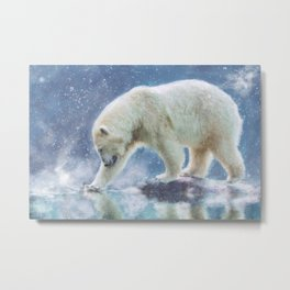 A polar bear at the water Metal Print