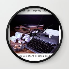 Vintage Typewriter with Catcher in the Rye quote Wall Clock