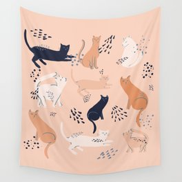 Cats in pink Wall Tapestry