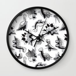 Geometric Dinos // non directional design white background grey dinosaurs shadows Wall Clock