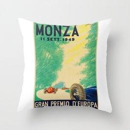 Grand Prix Monza, 1949, Gran Premio Monza, vintage poster Throw Pillow