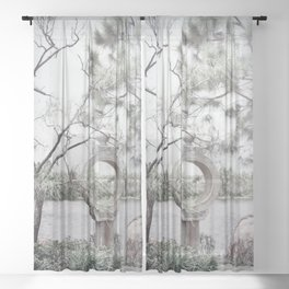 Japanese Gardens Statue Sheer Curtain