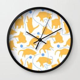 Fat Orange Cats and Blue Yarn Wall Clock