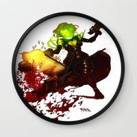 aquaman Wall Clocks featuring Anne Frankenstein AF2 by Lazy Bones Studios