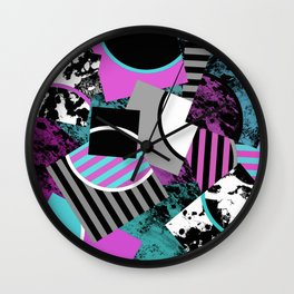 Cluttered Sqaures - Abstract, geometric, stripes, pink, cyan, blue, textured, black, white, arcs Wall Clock