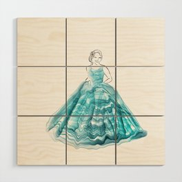 Girl In Teal Alcohol Ink Ball Gown Wood Wall Art