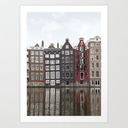 Buildings In Amsterdam City Picture | Dutch Canals Colorful Architecture Art Print | Europe Travel Photography Art Print