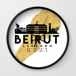 BEIRUT LEBANON SILHOUETTE SKYLINE MAP ART Wall Clock