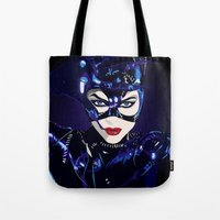 catwoman Tote Bags featuring Catwoman  by Jordi Hayman Design