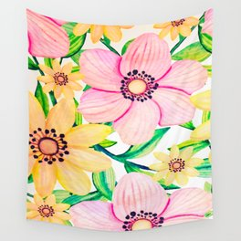 Pink and Yellow Happiness Wall Tapestry