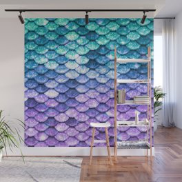 Mermaid Ombre Sparkle Teal Blue Purple Wall Mural