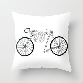 Skeleton Bike Throw Pillow