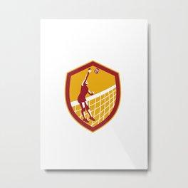 Volleyball Player Spike Ball Net Retro Shield Metal Print
