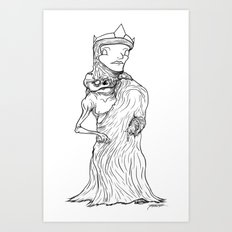 The King of Flesh (Black and White) Art Print