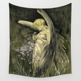 Fairy in Irises Wall Tapestry