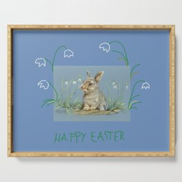 Spring Rabbit & Happy Easter quote Serving Tray
