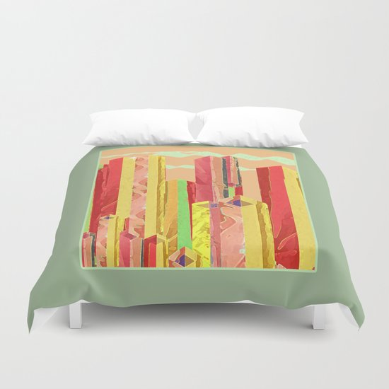 Uptown Downtown Summer Eve Duvet Cover
