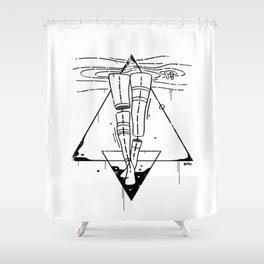 Midnight Bath - Black & White Shower Curtain