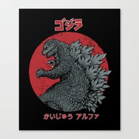 kaiju Canvas Prints featuring Gojira Kaiju Alpha by pigboom el crapo