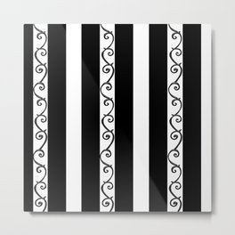 Stripes and Thorny Vines by Dark Decors - Black and Whites Metal Print
