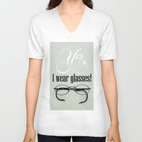 glasses V-neck T-shirts featuring Glasses by Julia Dávila-Lampe