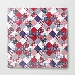 Red White & Blue Patchwork Quilt Metal Print