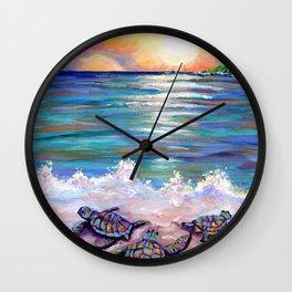 Baby Sea Turtles Wall Clock